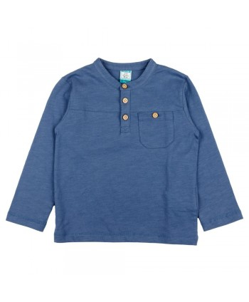 Camiseta de manga larga de niño azul Corganico