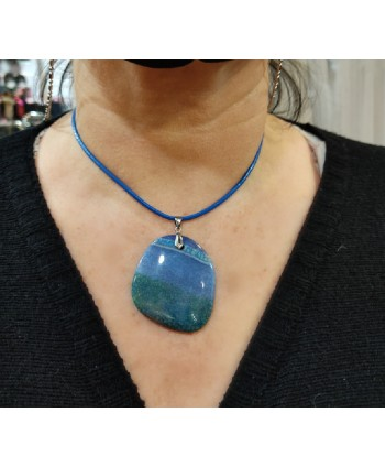 colgante piedra natural ágata azul