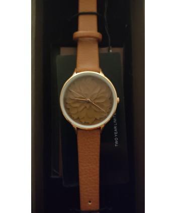 reloj señora cluci marrón con  flor