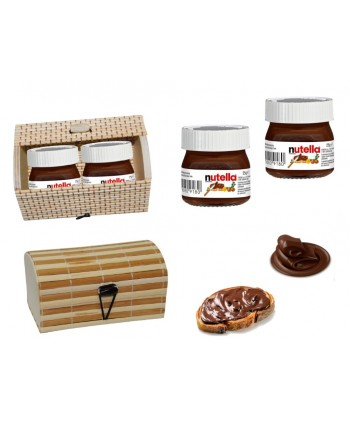 2 Botes mini nutella 25 gr+ caja de madera