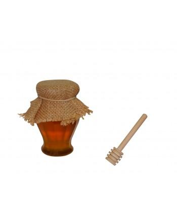 Bote de miel con palo de madera 120 gr 9 cm