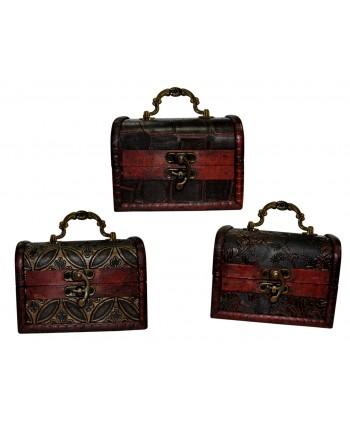 Baúl madera envejecido clásico medidas 12.5x9x9 cm modelos surtidos