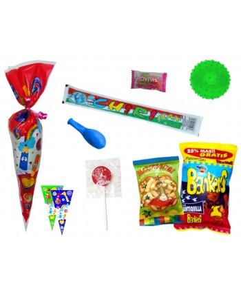 Bolsa cono con golosinas+ balón de pinchos 30x60 cm