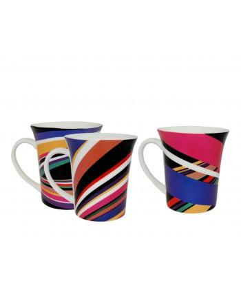 Taza cerámica lineas 10 cm colores surtidos