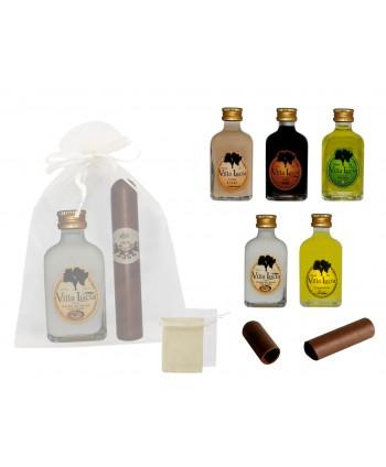 Licor frasca mini 5 cl + puro de chocolate Id-0001+ bolsa de tul 8943*