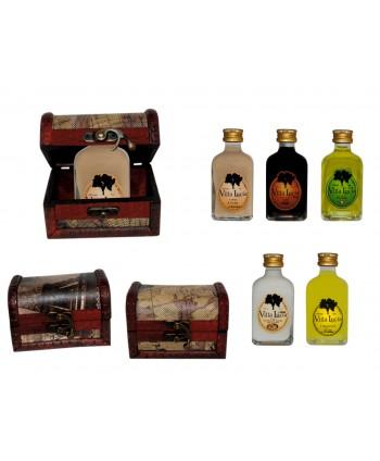 Licor frasca mini 5 cl + baúl madera mapas 8087* sabores surtidos